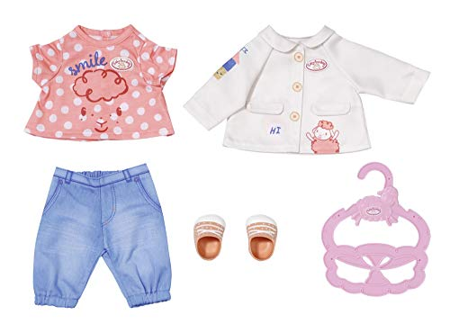 Zapf Creation 704127 Baby Annabell Little Spieloutfit 36 cm - Puppenoutfit mit Bluse, Jacke, Hose, Schuhe...