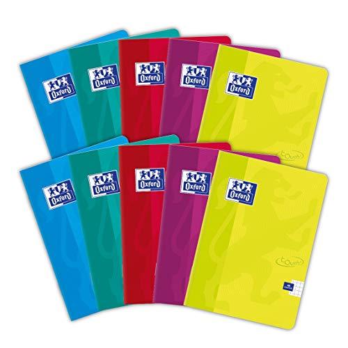 Oxford Touch Schulheft A6, 48 Blätter, kariert, 10 Stück-Packung, Farbenmix