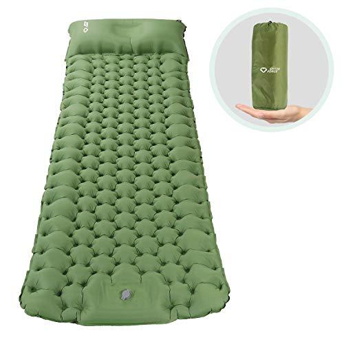 Isomatte Camping Selbstaufblasbare mit Fußpresse Pumpe, Memory Foam Kissen Campingmatratze 195*65*8cm...