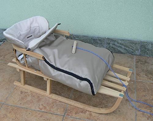 Holzschlitten mit Rückenlehne mit Winterfußsack 90cm 10 Farben Schlitten aus Holz (Beige)