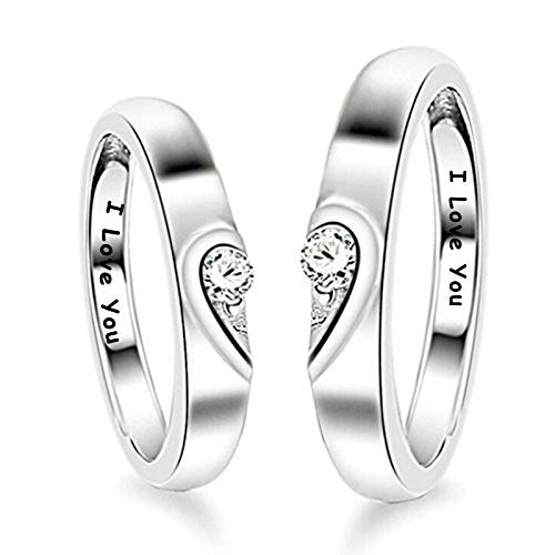 KnSam Paar Ring 925 Sterlingsilber Liebe Herz Partnerringe Eheringe Trauringe Hochzeit Verlobung für...