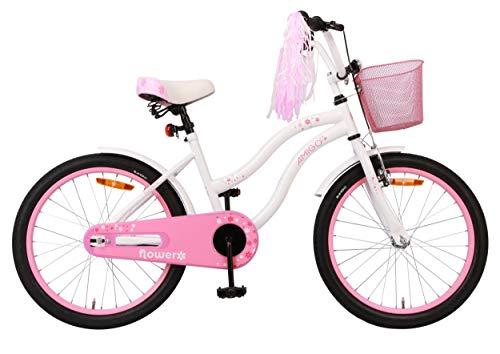 Amigo Flower - Kinderfahrrad für Mädchen - 20 Zoll - mit Handbremse, Rücktritt, Korb, fahrradständer...