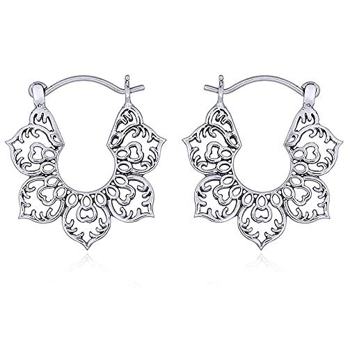 Ohrringe KARMA III - 925 Sterling Silber - 2cm Große Verzierte Blüte - Tolle Geschenkidee