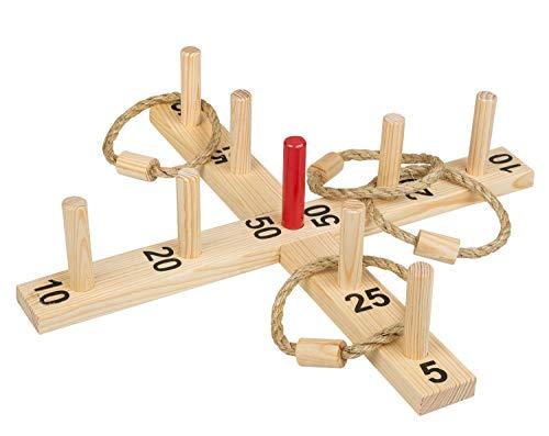 Idena 40158 - Ringwurfspiel aus Holz mit 9 Spielstäben, 4 Ringen aus Sisal, für drinnen und draußen,...