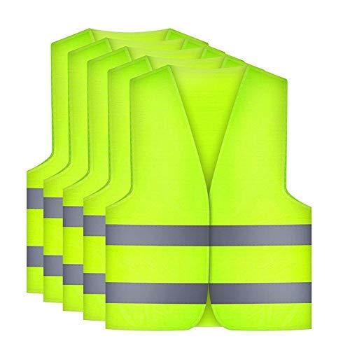 Etmury Warnwesten Auto[5 Set], Warnweste 360 Grad Reflektierende Sicherheitsweste für Autofahrern...
