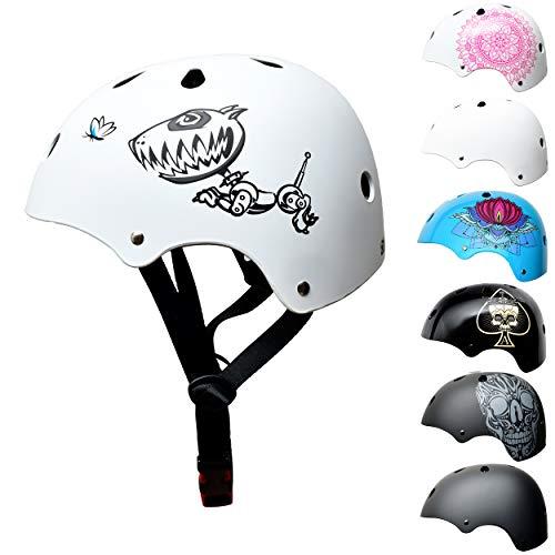 Skullcap BMX Helm - Skaterhelm - Fahrradhelm - Herren Damen Jungs & Kinderhelm, Gr. S (53 - 55 cm),...