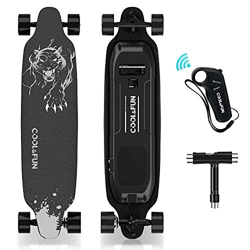 HOVERMAX Elektro Skateboard, 35,4x9 Zoll Elektrisches Longboard-Skateboard mit Fernbedienung, Geeignet...