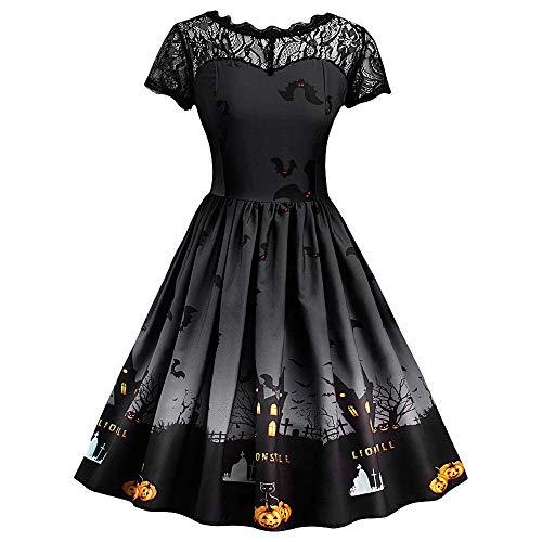 Calvinbi Vintage Kleid Damen Elegante Kleider V Ausschnitt Mesh Lace Schwarz Schulterfrei Damenkleider...
