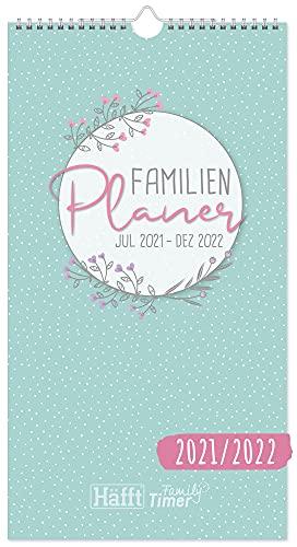 FamilienPlaner 2021/2022 mit 5 Spalten, 22,5 x 42 cm [Blumen] Wandkalender 18 Monate: Jul 21 - Dez 22 |...