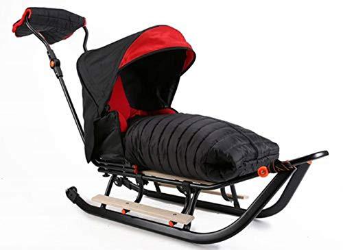Premium LINE Plus Kinderschlitten Babyschlitten, Fußsack - 3-in-1- Kinderschlitten mit Rädern und Muff...