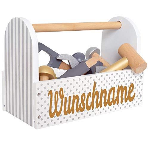 Elefantasie Werkzeugkoffer aus Holz mit Namen graviert grau