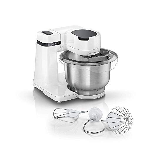 Bosch MUMS2EW00 Küchenmaschine MUM Serie 2, 700 W, 3,8 L Edelstahlschüssel, 4 Arbeitsstufen,...