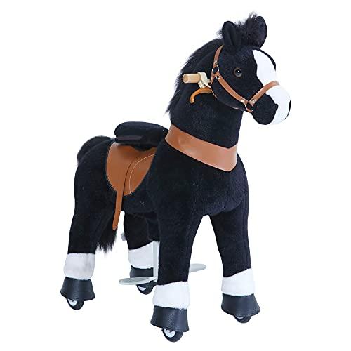 PonyCycle Offizielle Klassisch Modell U 2021 Reiten auf Pferd Spielzeug Plüsch Lauftier Schwarz Pferd...