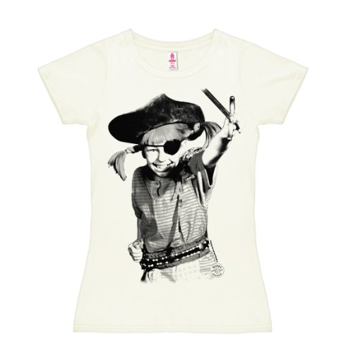 Logoshirt Pippi Langstrumpf - Pirat T-Shirt Damen - altweiß - Lizenziertes Originaldesign, Größe M