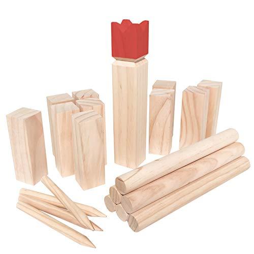 WELLGRO® Kubb Spiel 22-TLG. - für 2-12 Spieler, massiv Holz, roter König, Wikingerspiel inkl....