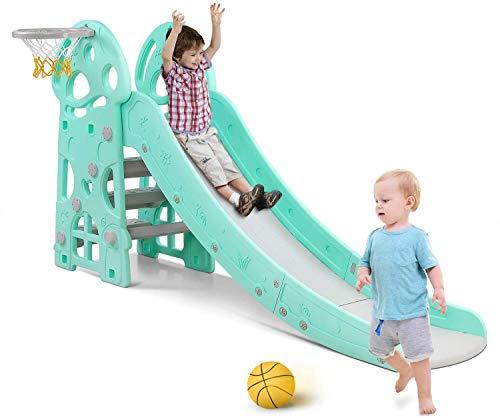 Bamny Rutsche Kinder Fun-Slide mit Basketballkorb für drinnen und draußen standfest und sicher (bis...