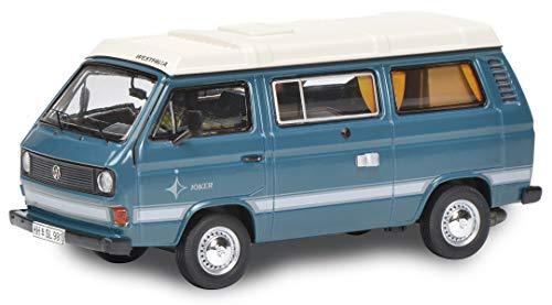 Schuco 452022000 VW T3 Camper, Joker mit flachem Campingdach, Modellauto, Maßstab 1:64, blau