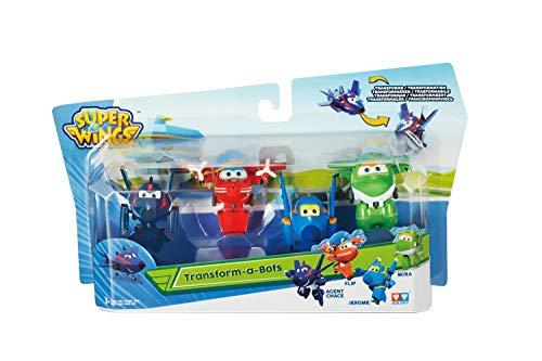Super Wings EU720040C EU 720040C-Transform-a-bots 4pk (Agent Chace&Flip&Jerome&Mira), Multicolour