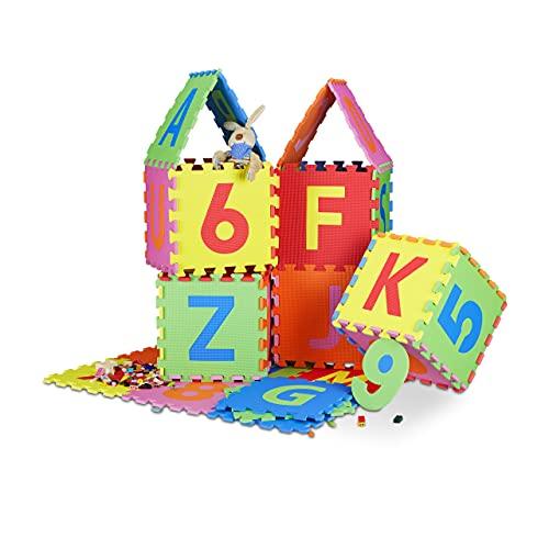 Relaxdays Spielmatte Puzzle 86 tlg, Puzzlematte Buchstaben u. Zahlen, EVA Schaumstoff Spielteppich BxT...
