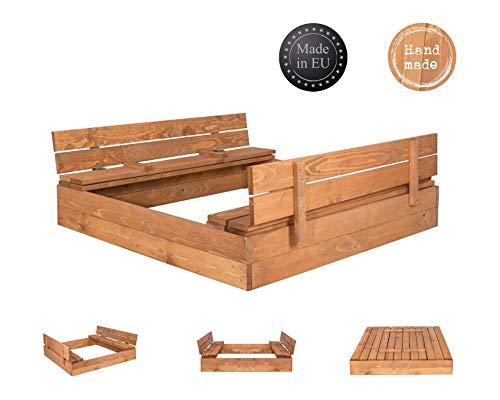 SPRINGOS Sandkasten mit Sitzbank und Abdeckung Kindersandkasten 120 cm x 120 cm Holzsandkasten...