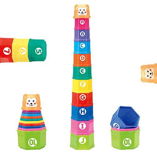 Nuheby Stapelbecher Kinder Stapelturm Stapelwürfel Baby Sandspielzeug Badespielzeug zum Sortieren und...