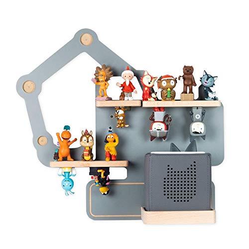 BOARTI Kinder Regal Bagger small in Grau - geeignet für die Toniebox und ca. 23 Tonies - zum Spielen und...