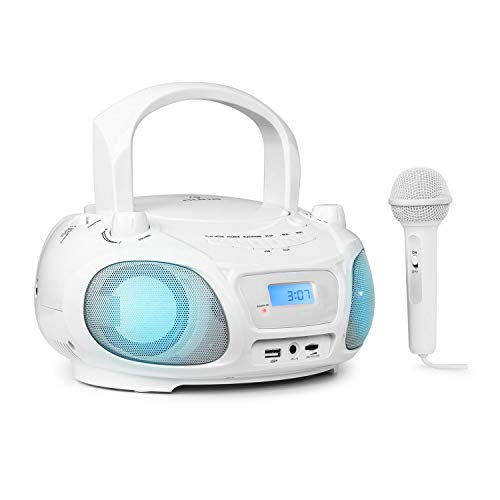 auna Roadie Sing CD-MP3 Karaoke Player Stereoanlage Boombox (Sing-A-Long Funktion, USB-Port, UKW Radio,...