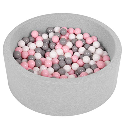 SELONIS Bällebad Bällepool Für Baby Kinder 90X30cm/200 Bälle Rund, Hellgrau: Weiß/Grau/Puderrosa
