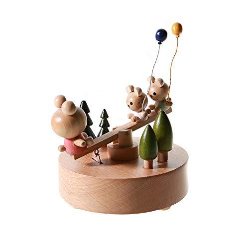 Hancoc Bär Wippe Hölzerne Spieluhr Clockwork Drive Buche Kinder Handwerk Kreative Geschenke...