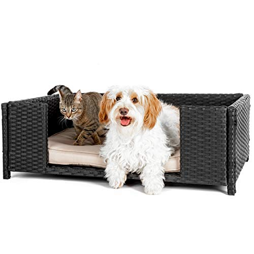 weico Hundebett in Rattan-Optik 90 x 60 x 30 cm - gemütliches Hundebett mit waschbarem Kissen - stabiles...