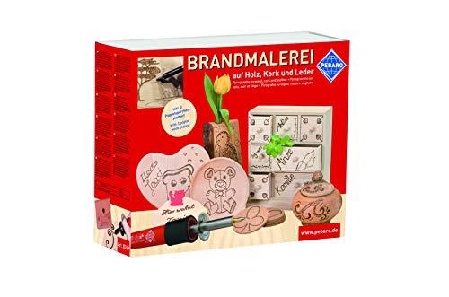 Komplett ausgestattetes Bastelset Brandmalerei mit Brandmalkolben, Brennspitzen, Brennstempeln und...