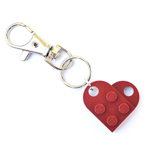 LEGO® Schlüsselanhänger Herz Hochzeit Freundin Valentinstag Dunkelrot