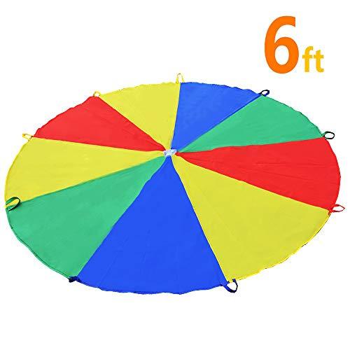 Sonyabecca 1.8m Schwungtuch für Kinder und Familie,Bunt Fallschirm Parachutes Spielzeug