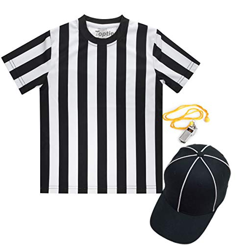 TOPTIE Schiedsrichter-Shirt-Set für Kinder, Sport-Fußball-Shirt, Schiedsrichterhut, Metall-Ref-Pfeife...