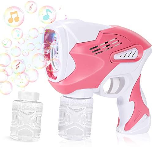 Gifort Seifenblasenmaschine Kinder, Seifenblasenpistole Badespielzeug mit Licht und Musik für Geburtstag...