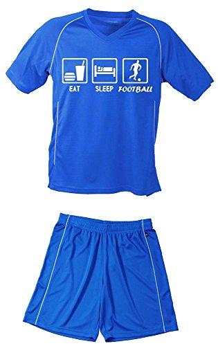 Coole-Fun-T-Shirts TRIKOTSET mit DEINEM Namen + Nummer ! Fussball EAT Sleep Football Kinder Trikot + Hose...