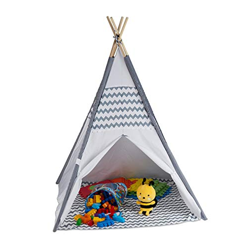 Relaxdays 10035300 Tipi Zelt für Kinder, mit Boden, Kinderzimmer Zelt, Wigwam Kinderzelt, HxBxT: 150 x...
