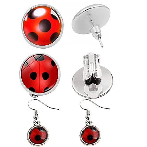 Ladybug Marienkäfer Ohrringe Mädchen Stud Cuffs Clip On Ohrringe Kostüm Cosplay Schmuck Zubehör für...
