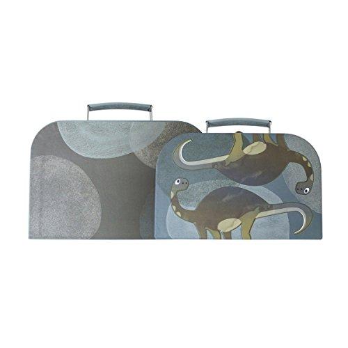 Sebra Koffer-Set für Kinder aus Papier Dinos (2-teilig, unterschiedliche Größen) in blau