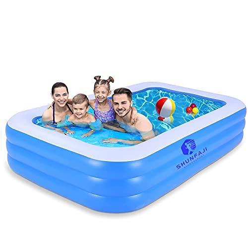 Aufblasbare Pool, Großer Familienpool, Pool rechteckig für Kinder, Familienschwimmbad, Aufblasbare...