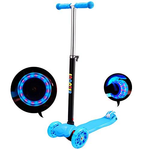 E-MANIS Kinderscooter Dreirad mit verstellbarem Lenker Kinderroller Roller Scooter,LED 3Räder, Kinder...