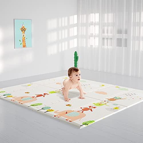 HyperSun Spielmatte Baby 200 × 180 x 1,5 cm Schadstofffrei Faltbar, Verdickte Rutschfeste Krabbelmatte...