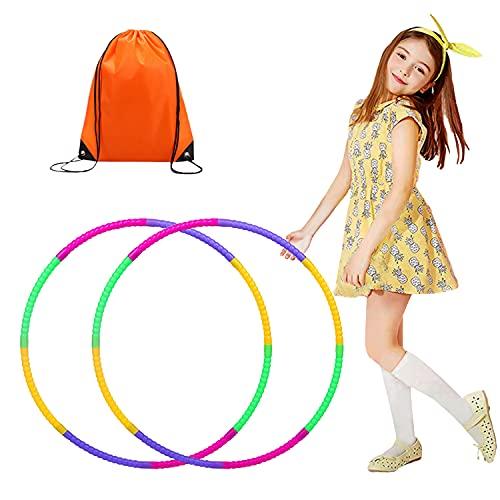 RayE 2 Stück Hoola Hoop für Kinder Kommt mit Kordelzug Tasche, 8 Knoten Abnehmbarer Hula Hoop, The...