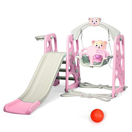 DREAMADE 3 in 1 Kinder Spielplatz, Kinderschaukel & Kinderrutsche Set mit Basketballkorb, Spielturm mit...