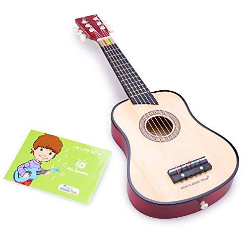 New Classic Toys - 10304 - Musikinstrument - Spielzeug Holzgitarre - Deluxe - Naturell, Kinder (Unisex)