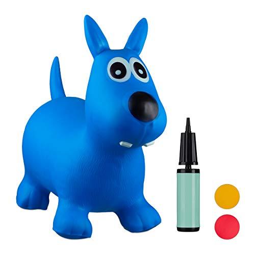 Relaxdays 10024990_45, blau Hüpftier Hund, inklusive Luftpumpe, Hüpfhund bis 50 kg, Hopser BPA frei,...