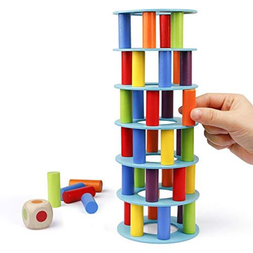 Coogam Hölzern Turm Stapelspiel, Feinmotorik-Bausteine mit Würfeln Schiefer Turm Spielzeug Montessori...