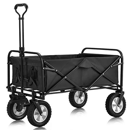 Flieks Bollerwagen Faltbar Handwagen mit Bremsen, Transportwagen Klappbar Gartenwagen 360 ¡ã drehbar...