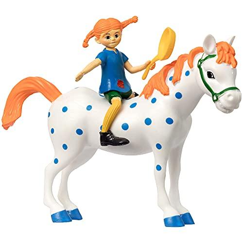 Micki & Friends 44379500 Pippi Langstrumpf Spielfiguren 3-teilig: Pippi, Pfanne, Pferd Kleiner Onkel -...