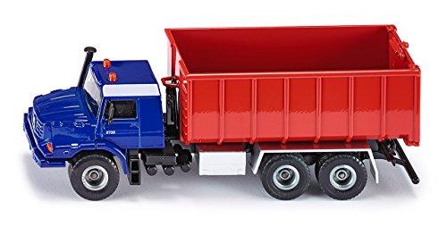SIKU 3546, LKW mit Abrollmulde, 1:50, Metall/Kunststoff, Blau/Rot, Abrollbare Mulde